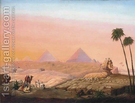 The Sphinx and Pyramids at sunset by Continental School - Reproduction Oil Painting