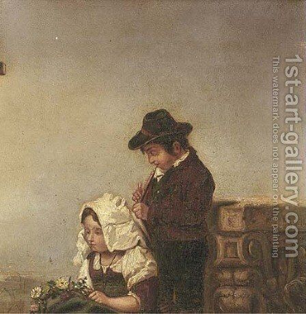The young serenade by Continental School - Reproduction Oil Painting