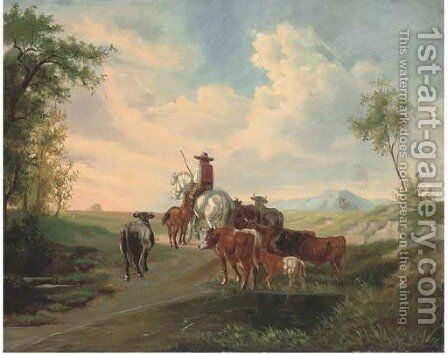 A herder and his cattle, in an extensive landscape by Continental School - Reproduction Oil Painting