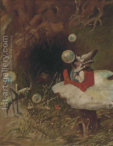 An elf on a toadstall with a grasshopper by Continental School - Reproduction Oil Painting