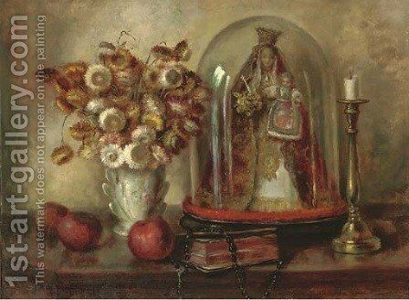 Dried flowers in a porcelain vase by Continental School - Reproduction Oil Painting