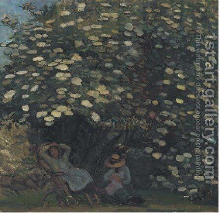 In the shade of the trees by Continental School - Reproduction Oil Painting