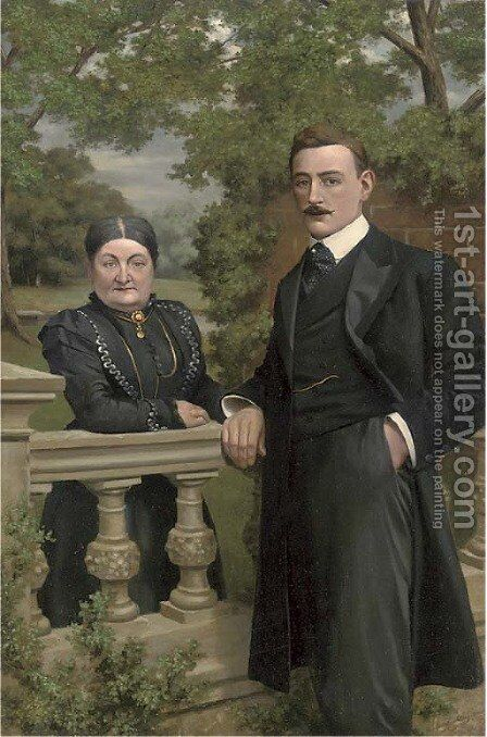 Portrait of a gentleman and a lady by Continental School - Reproduction Oil Painting
