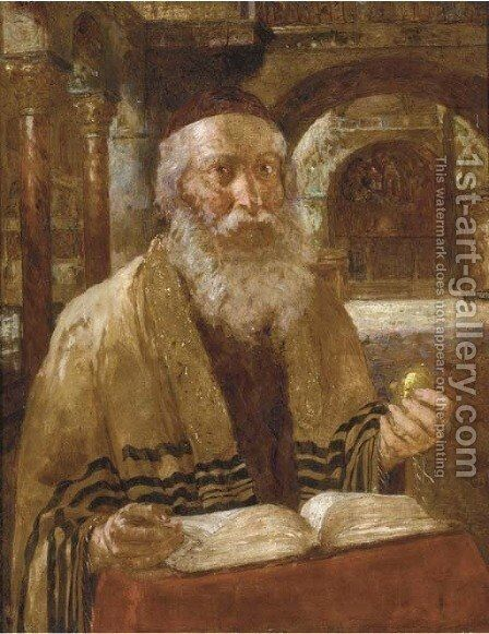 Portrait of a Rabbi reading the scriptures by Continental School - Reproduction Oil Painting