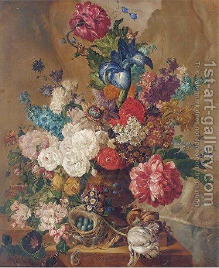 Summer flowers, including irises, tulips, roses in vase, with a bird's nest and eggs to the side by Continental School - Reproduction Oil Painting