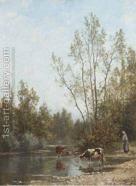 Watering cattle at the edge of the river by Continental School - Reproduction Oil Painting