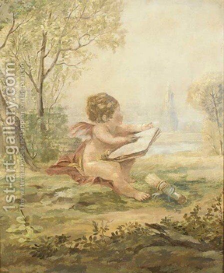 A cherub drawing in a landscape by Continental School - Reproduction Oil Painting