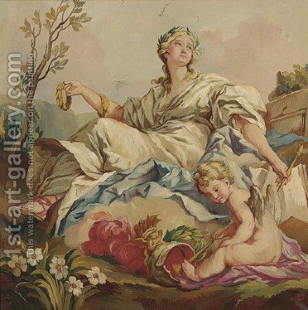 A classical muse in a landscape with a young satyr with bow and arrow; together with three similar by Continental School - Reproduction Oil Painting