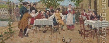 A game of cards by Continental School - Reproduction Oil Painting