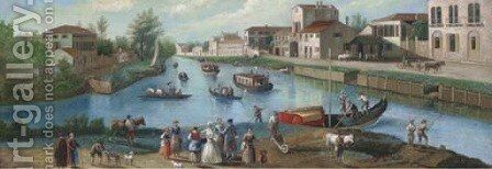 A summer's day beside the river by Continental School - Reproduction Oil Painting