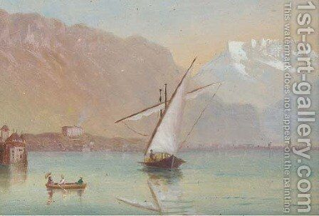 Fishing vessels on Lake Geneva by Continental School - Reproduction Oil Painting
