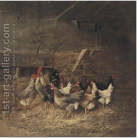 Chickens in a barn by Continental School - Reproduction Oil Painting