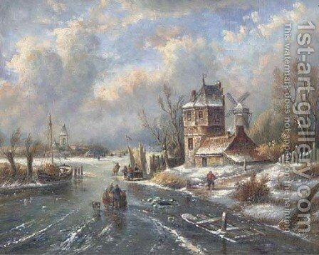 Figures on a frozen path in a snowy landscape by Continental School - Reproduction Oil Painting