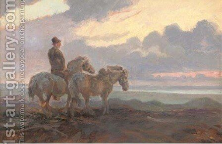 Icelandic horses by Continental School - Reproduction Oil Painting