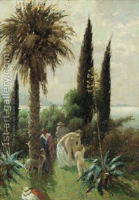 The bathers by Continental School - Reproduction Oil Painting