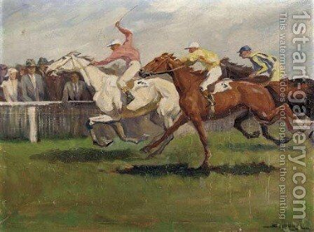 The final furlong by Continental School - Reproduction Oil Painting
