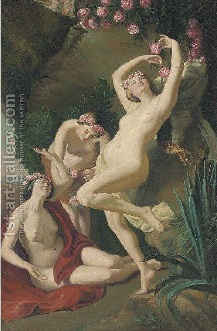 The three graces by Continental School - Reproduction Oil Painting