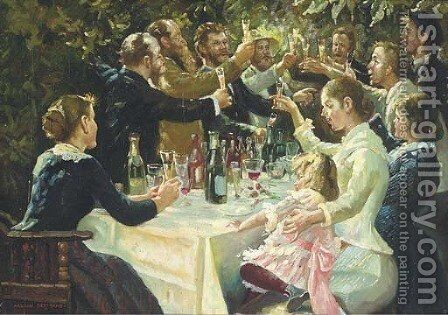 The toast by Continental School - Reproduction Oil Painting