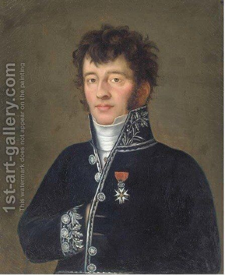 Portrait of an officer, bust-length, in military uniform by Continental School - Reproduction Oil Painting
