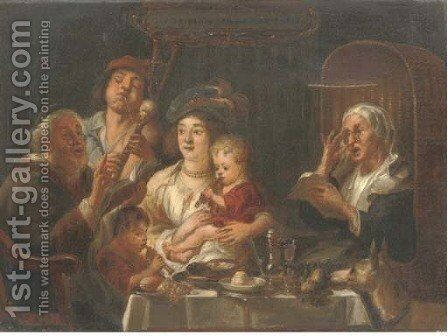 The serenade by Continental School - Reproduction Oil Painting
