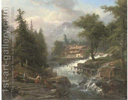 An Alpine chalet beside a stream by Continental School - Reproduction Oil Painting