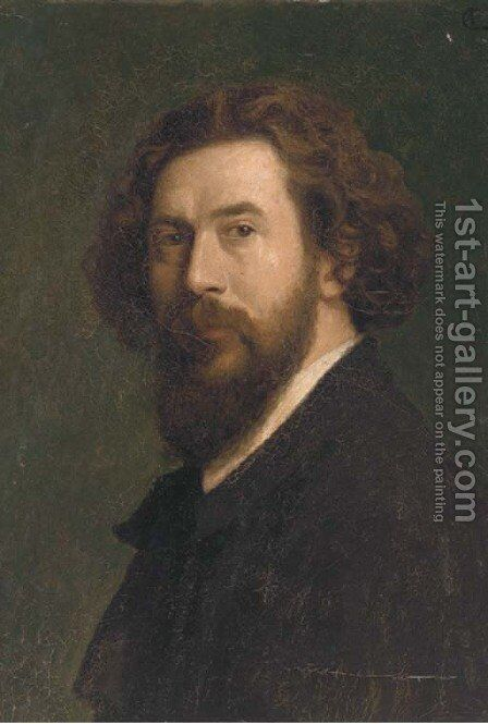 Portrait of a gentleman, bust-length, in a black coat by Continental School - Reproduction Oil Painting