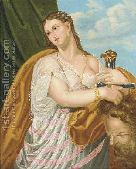 Judith with the head of Holifernes by Continental School - Reproduction Oil Painting