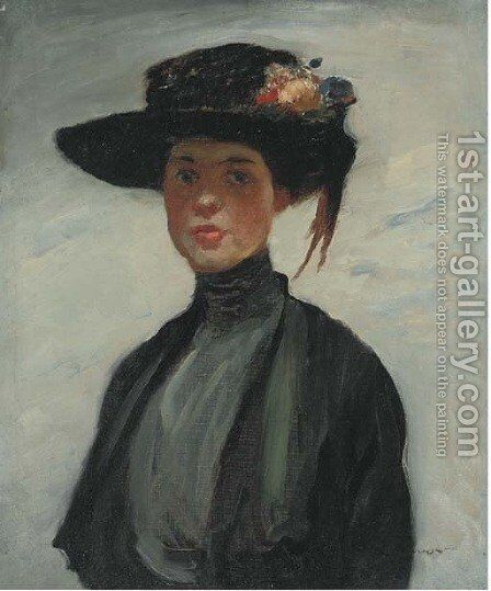 Portrait of a lady, half-length, in a black dress and hat by Continental School - Reproduction Oil Painting