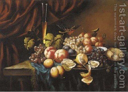 Oysters, bread, plates of grapes, peaches, plums and a lemon before wine glasses on a table by Continental School - Reproduction Oil Painting