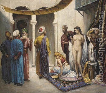 The slave trader by Continental School - Reproduction Oil Painting