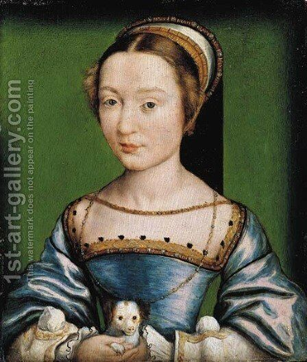 Portrait of a lady, bust-length, in a blue dress, holding a puppy by Corneille De Lyon - Reproduction Oil Painting
