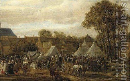 A horse fair, said to be Valkenburg, with figures in wagons and on horseback by booths outside the town walls by Cornelis Beelt - Reproduction Oil Painting