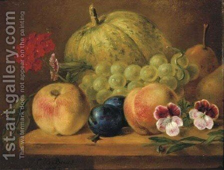 Fruits and flowers on a ledge by Cornelis Bernardus Buys - Reproduction Oil Painting