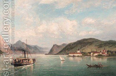 A view of Ort Castle on the Traun See, Austria by Cornelis Christiaan Dommelshuizen - Reproduction Oil Painting