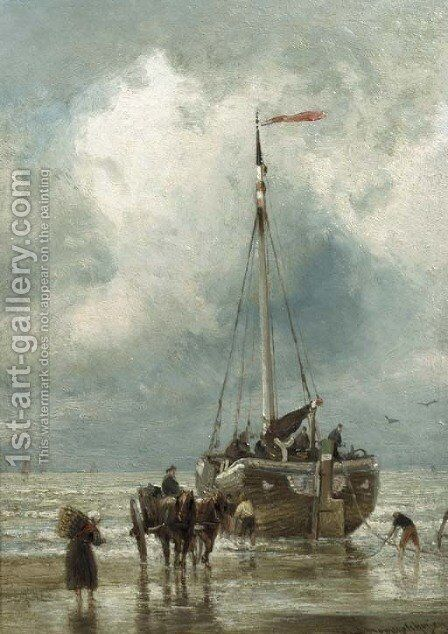 Fishermen unloading a bomschuit by Cornelis Christiaan Dommersen - Reproduction Oil Painting