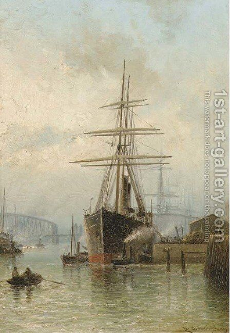The bustling port of Rotterdam by Cornelis Christiaan Dommersen - Reproduction Oil Painting