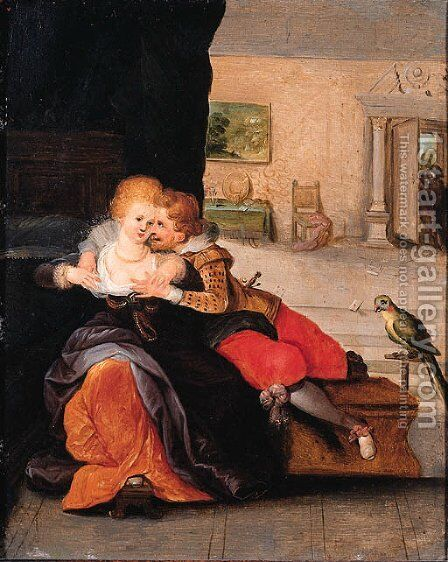 A couple embracing in an interior by Cornelis de Baellieur - Reproduction Oil Painting