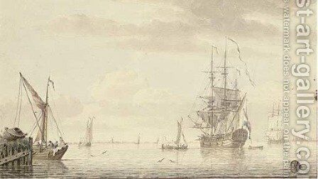 Dutch shipping on a broad river by Cornelis De Grient - Reproduction Oil Painting