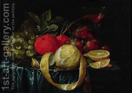 A peeled lemon, oranges, grapes on a pewter plate, and a Facon-de-Venice wineglass on a draped table by Cornelis De Heem - Reproduction Oil Painting