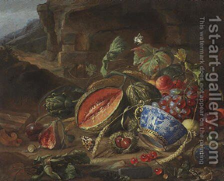 Melons, peaches, grapes, cherries and other fruits, with a wan-li porcelain bowl with gilt mount, insects and butterflies, in a landscape by Cornelis De Heem - Reproduction Oil Painting