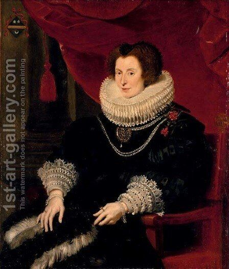 Portrait of a lady, believed to be Anna de Bourgeois (d. 1636), three-quarter-length, in a black dress with a fan, seated by Cornelis De Vos - Reproduction Oil Painting