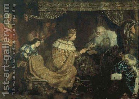 King David presenting the sceptre to Solomon by Cornelis De Vos - Reproduction Oil Painting