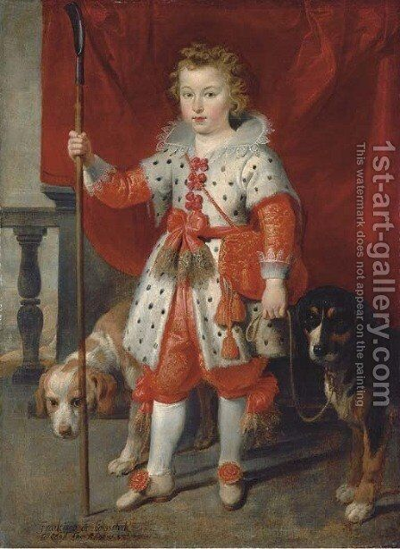 Portrait of a boy, traditionally called Francois de Boisschot, Comte d'Erps, full-length, in an ermine coat with red bows and red hose, on a balcony by Cornelis De Vos - Reproduction Oil Painting