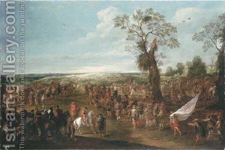 Troops manoeuvring in an extensive landscape by Cornelis de Wael - Reproduction Oil Painting
