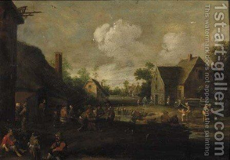 A village street with boors at table outside a tavern, beggars in the foreground by Cornelius Droochsloot - Reproduction Oil Painting