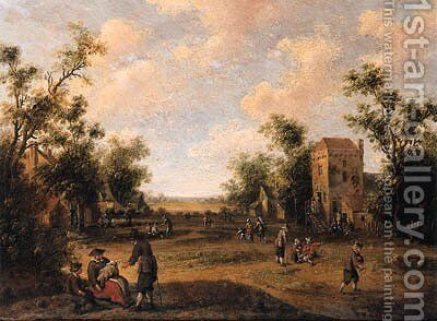 A village street with peasants resting and conversing by Cornelius Droochsloot - Reproduction Oil Painting