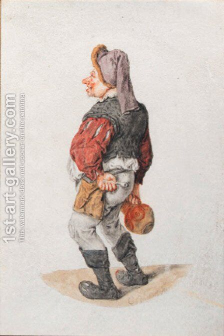 A man in a cap, holding a pipe and a pitcher by Cornelis Dusart - Reproduction Oil Painting