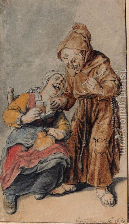 A monk with a pipe offered a glass of beer by a woman by Cornelis Dusart - Reproduction Oil Painting