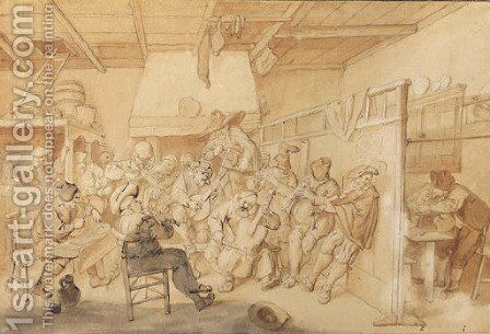 A tavern with peasants drinking by Cornelis Dusart - Reproduction Oil Painting