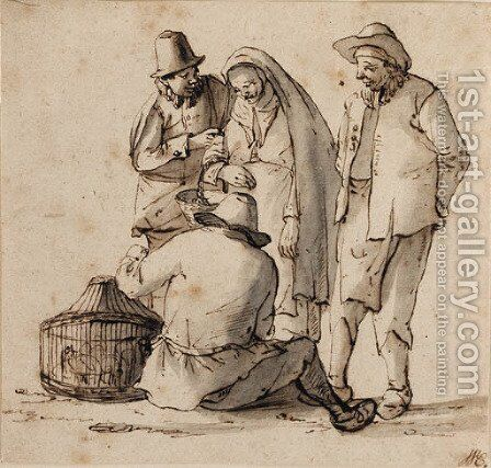 Four peasants looking at a basket containing birds by Cornelis Dusart - Reproduction Oil Painting